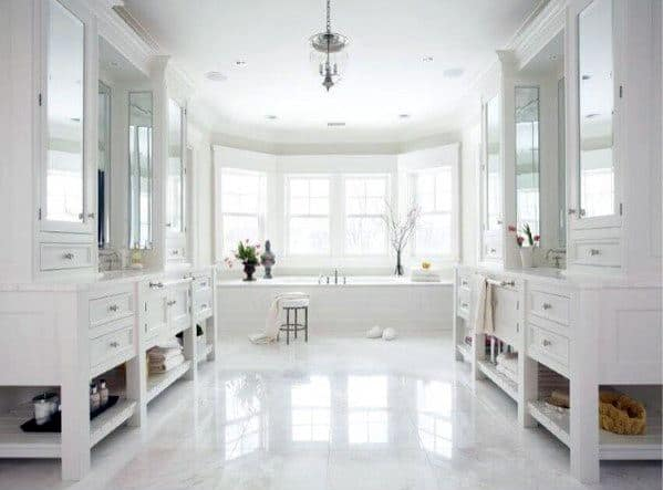 Spacious Cool White Bathroom Design Ideas