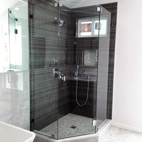 Spacious Grey Corner Shower Home Ideas