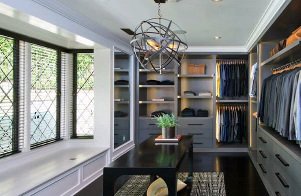 Spacious Masculine Mens Closet Dressing Room Design Ideas