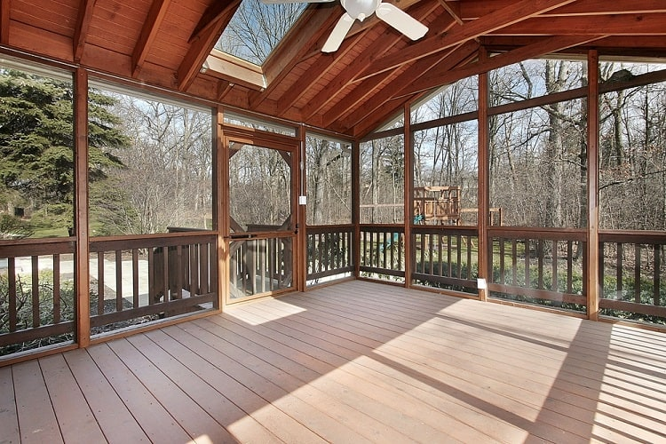 Spacious Wooden Screened In Porch