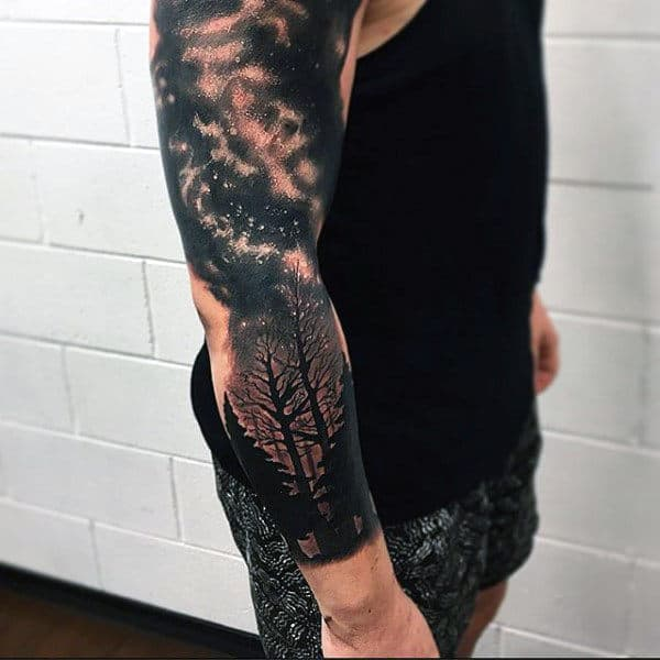 Sparkling Astronomy And Trees Black Full Sleeves