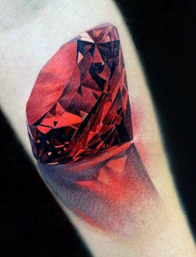 Sparkling Red Gemstone Realism Tattoos Male Forearm