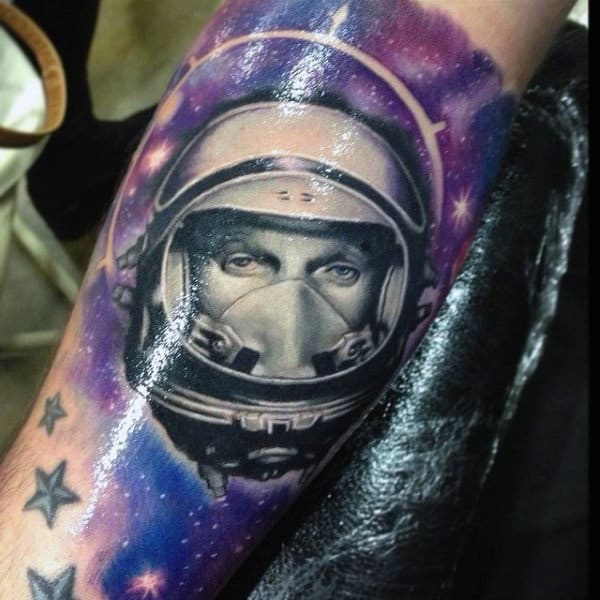 Sparkly Purple Stars And Astronaut Tattoo Male Forearms