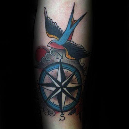Sparrow Flying With Compass Mens Traditional Forearm Tattoo Design Ideas