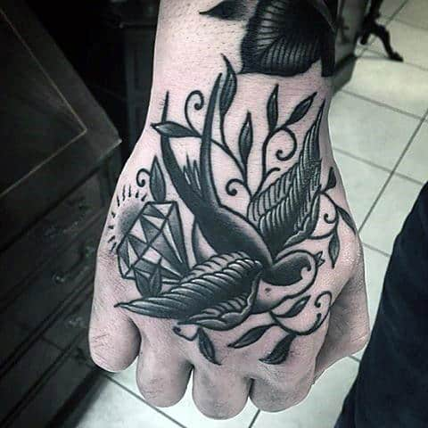 Sparrow With Diamond Traditional Hand Tattoos For Males