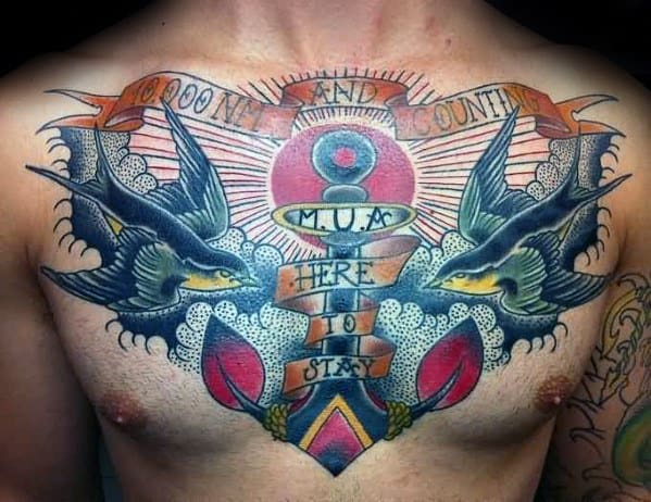 Sparrows With Anchor Mens Banner Chest Traditional Tattoo