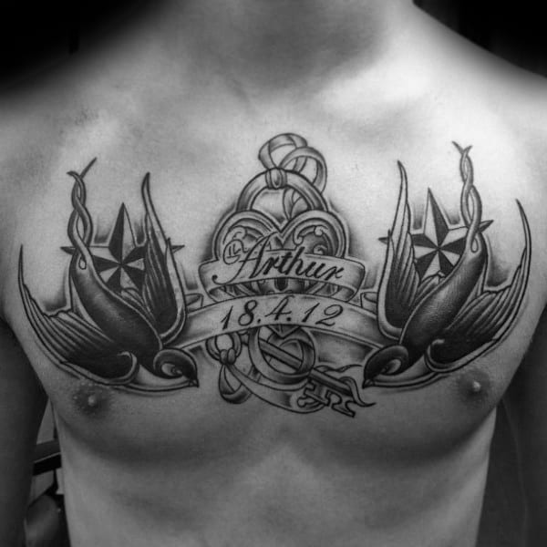 Sparrows With Banner Memorial Mens Lock Chest Tattoos