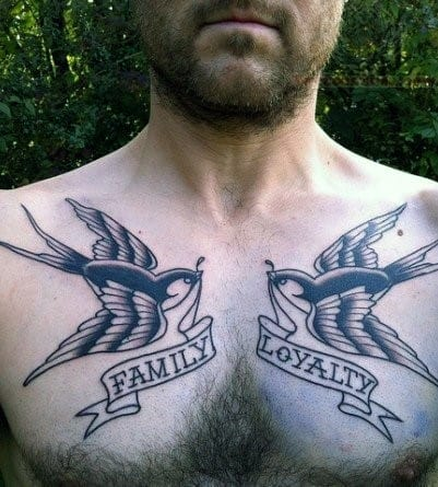 Sparrows With Banners Loyalty Mens Chest Tattoos