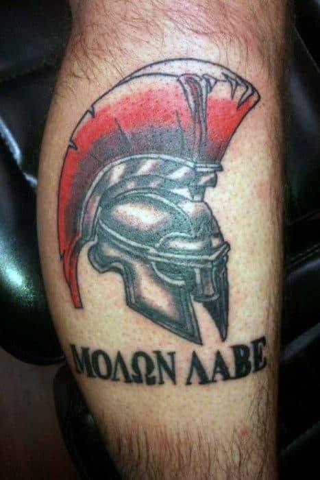 Sparta Helmet Molon Labe Mens Forearm Tattoo