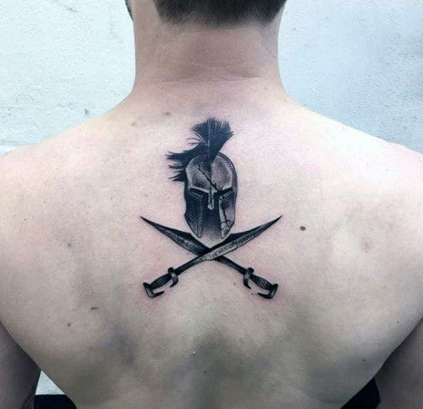 Spartan Creative Small Upper Back Tattoo On Gentleman