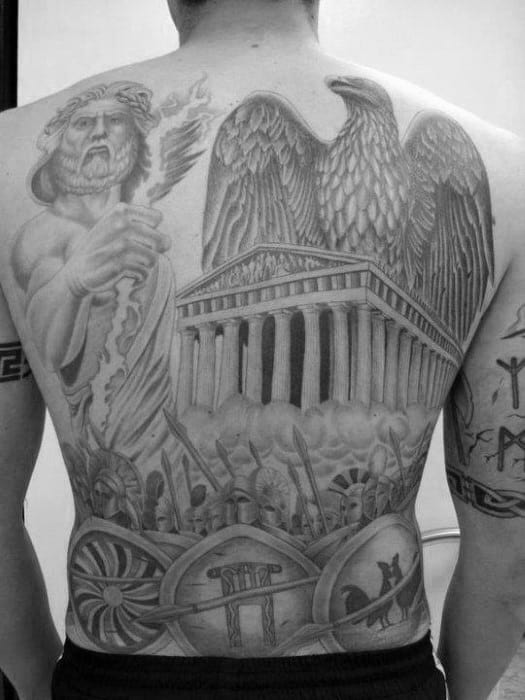 Spartan Eagle Mens Full Back Shaded Tattoos
