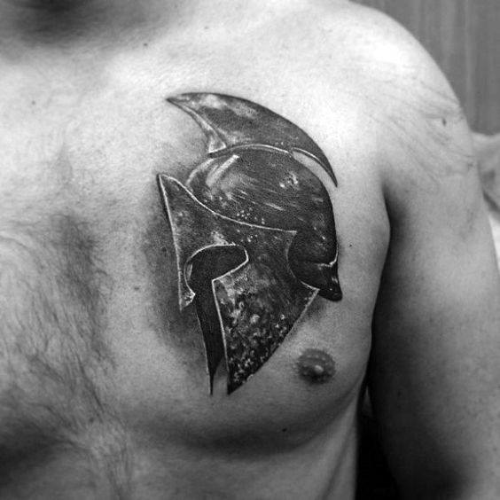 Spartan Helmet 3d Shaded Guys Cover Up Upper Chest Tattoo