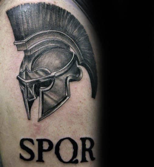 Spartan Helmet Spqr Guys Upper Arm Tattoos