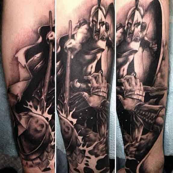 Spartan Helmet Tattoo For Men
