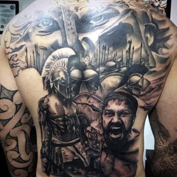 Spartan Helmet Tattoos For Men On Back