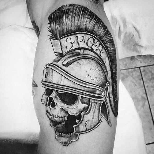 Spartan Helmet With Skull Spqr Guys Inner Arm Bicep Tattoos