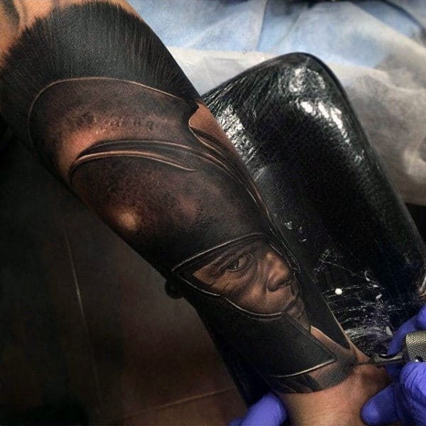 Spartan Inner Forearm Realistic Tattoos For Men