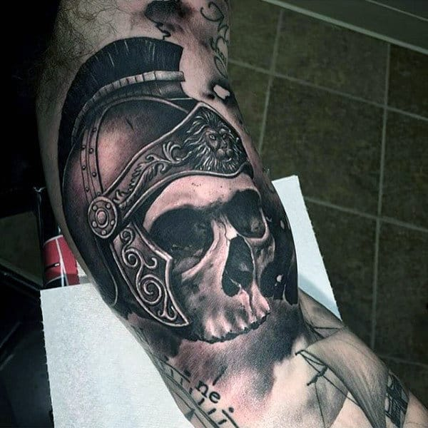 Spartan Skull Inner Arm 3d Mens Tattoos