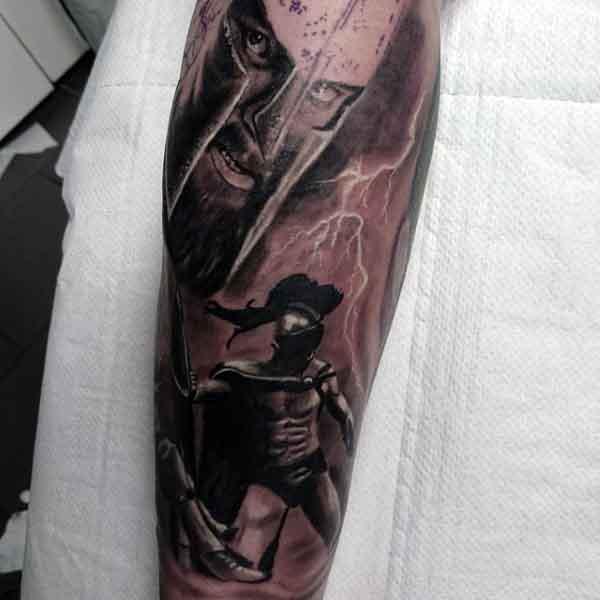 Spartan Tattoos Men's Legs