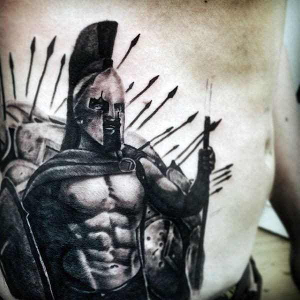 Spartan Warrior Awesome Mens Stomach Ribs Tattoos