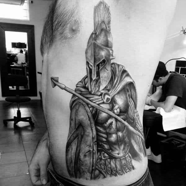 Spartan Warrior With Spear Mens Rib Cage Side Tattoo