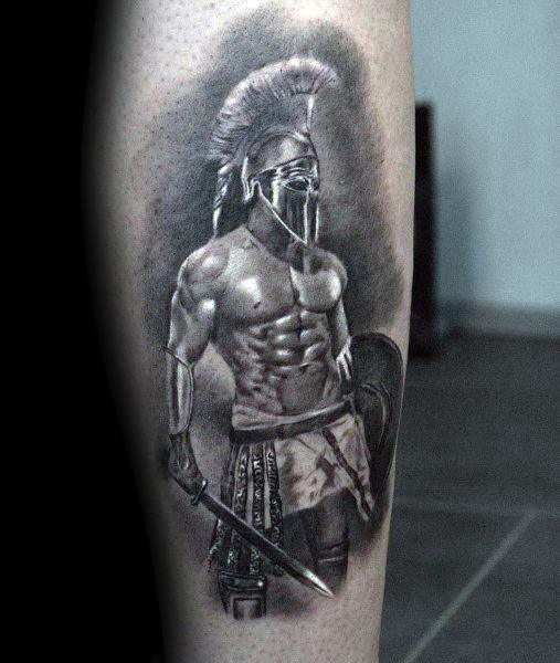 Spartan Warrior With Sword And Shield Guys Leg Tattoo