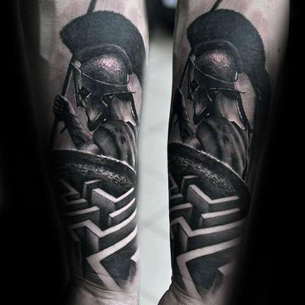 Spartan With Maze Guys Different Inner Forearm 3d Tattoos