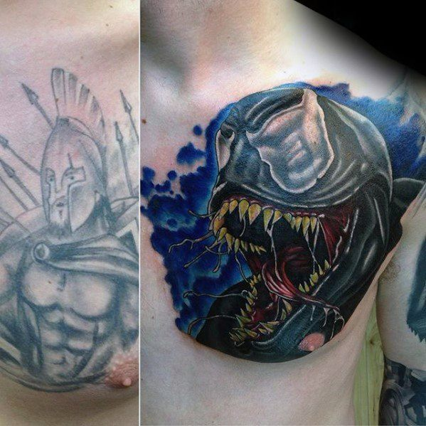 Spartan With Movie Creature Guys Upper Chest Cover Up Tattoo