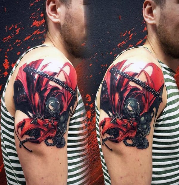 Spawn Male Upper Arm Red And Black Ink Tattoos