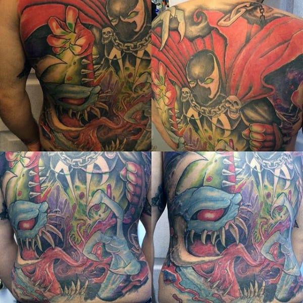 Spawn Themed Mens Full Back Tattoos