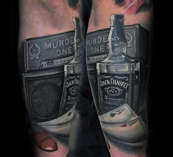 Speaker With Jack Daniels And Playing Cards Mens Arm Tattoo