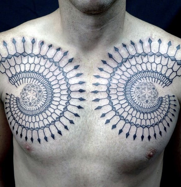 Spears Fibonacci Spiral Mens Upper Chest Tattoos