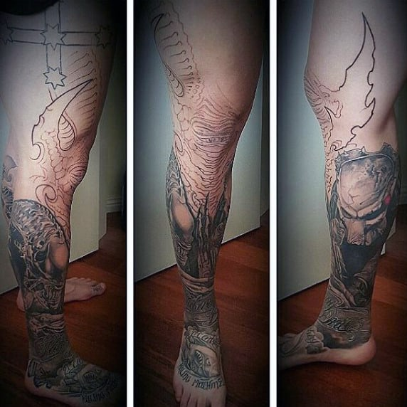 Spectacular Black And Grey Tattoo On Foot For Men