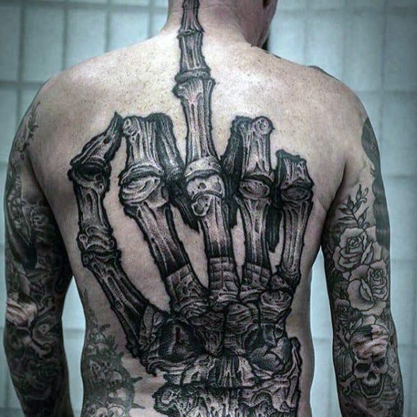 Spectacular Bony Manly Skeletal Tattoo Mens Full Back