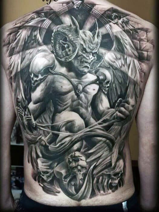 Spectacular Curved Horned Beast Tattoo On Males Full Back