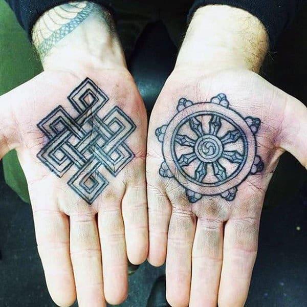 100 palm tattoo designs for men inner hand ink ideas for Yellow tattoo on dark skin