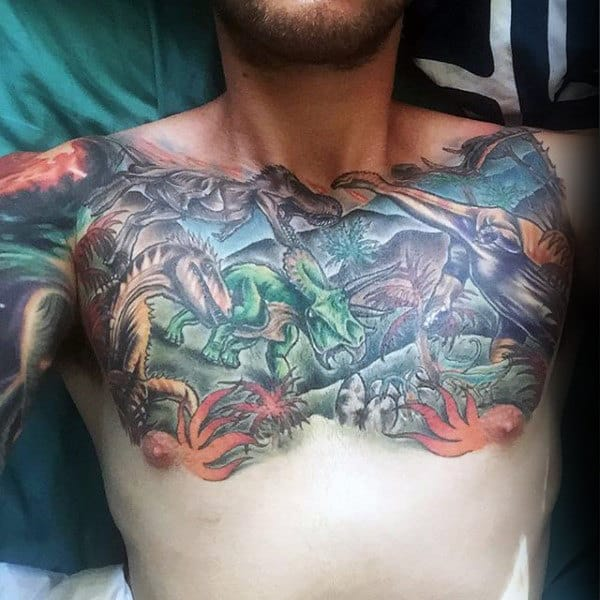 Spectacular Forest Tattoo With Dinosaurs Mens Chest