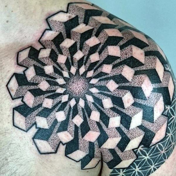 Spectacular Geomtric Dotwork Tattoo Male Shoulders