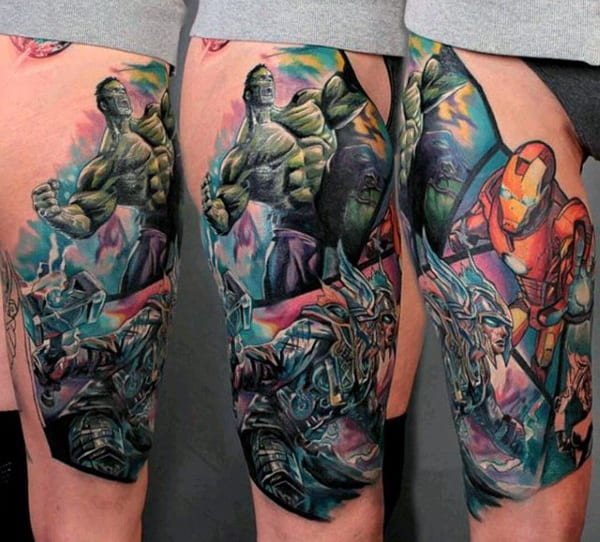 Spectacular Hulk Tattoo Male Forearms
