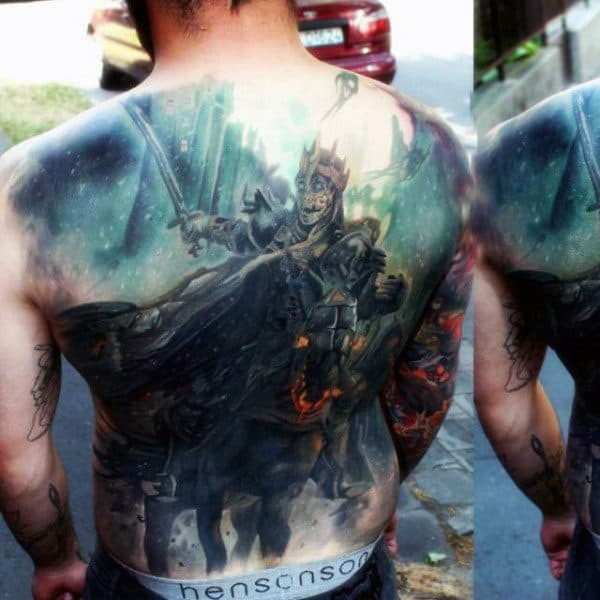 Spectacular Realistic Warrior Tattoo Male Full Back