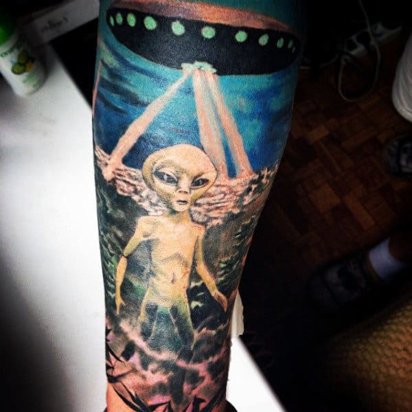 Spectacular Spacecraft And Alien Tattoo Forearms Male
