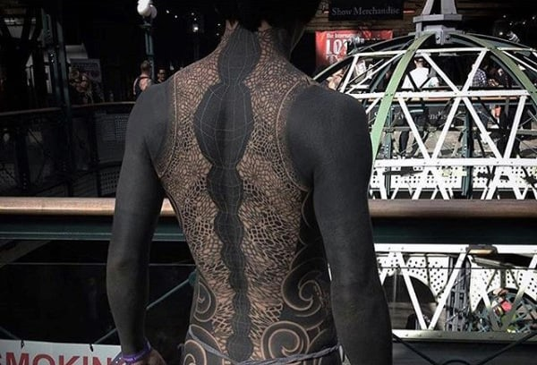 Spectacular Spinal Effect Tattoo With Glow Male Full Back