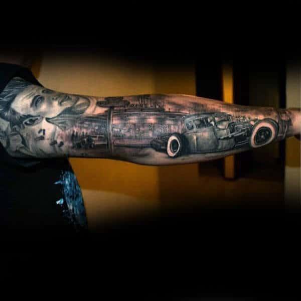 Spectacular=hot Rod Tattoo Male Full Sleeve