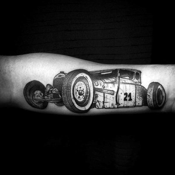 Speed Car Hot Rod 21 Tattoo Male Forearms