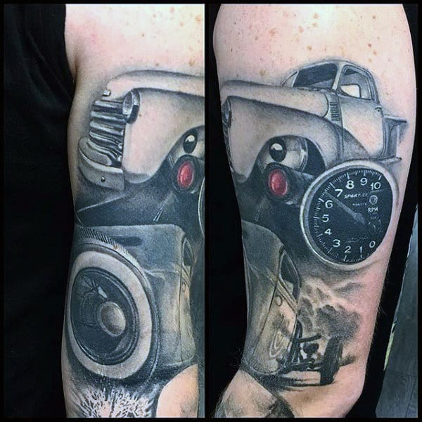 Speedometer Car Hot Rod Tattoo Male Arms
