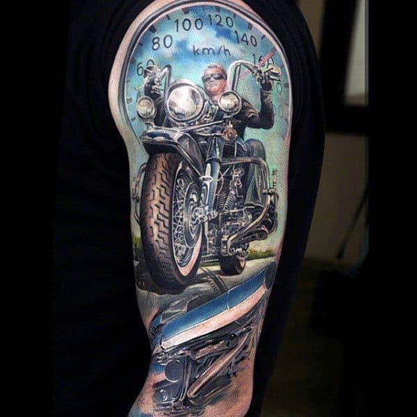 Speedometer Mens Half Sleeve Biker Tattoo Design Ideas
