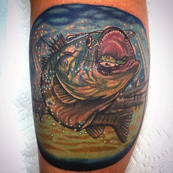 Spherical Bass Fishing Scene Tattoo For Gentlemen