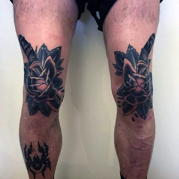 Spider Dagger And Flower Tattoo Guys Legs