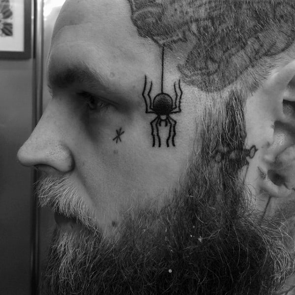 Spider Dangling From Web Mens Face Tattoos