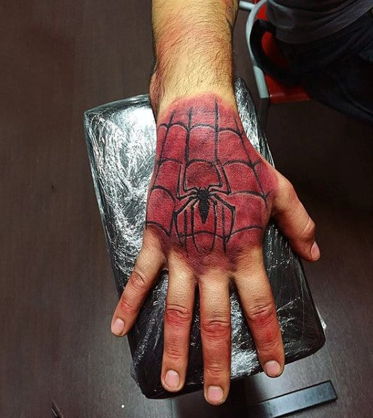 Spider Man Patterned Tattoo For Males On Hand